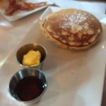 Chocolate chip pancakes with mango butter and syrup