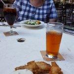 ibock beer, ceasar salad with a diet coke.