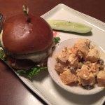 Attitude Burger and Sweet Potato Salad