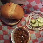 Pulled pork and baked beans were good.