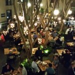 Looking down on the awesome courtyard dining area