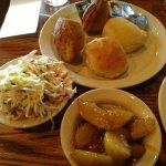 Great Side Dishes - Fresh coleslaw, fried apples, biscuit and corn muffin.