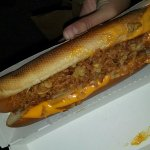 Hot dog with cheese and crispy onions