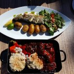 The grilled fish and the sausage