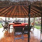 Round thatched dinning area