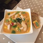 Chicken noodle soup with red curry and coconut - amazing