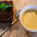 My disgusting malva pudding with cold Ultramel custard