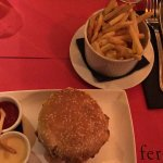 The Ferdi Burger with Bacon and a side of fries