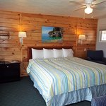 Room 203 has a gorgeous Tongue & Groove Wall and views of the Lake.