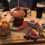 Venison Burger (with Haggis) and Chips