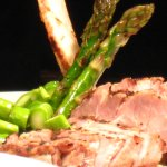 Rib steak with asparagus and potatoes