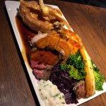 Trio of roasts Sunday lunch - beef, chicken & pork