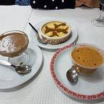 Rice pudding, chocolate mousse, caramel mousse.
