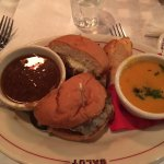 """French onion soup burger"", both soups were tasty."