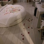 Rose petals...a surprise on my birthday from the hotel