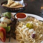 Lamb shish ka bob and Greek spaghetti