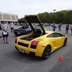 Drivers awaiting their 3-lap thrill rides in the Ferrari or/and Lamborghini