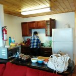 Kitchen:  Full range stove, full size refrigerator, stocked with pots, pans & dishes