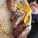 Cinnamon bread French toast, almond pear tart and almond log