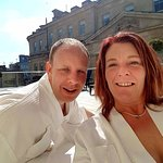Enjoying the sun trap terrace after our treatments at Thermal Bath Spa