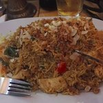 Big potion of rice dish with chicken