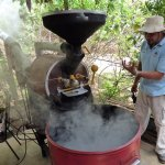 Demonstration on coffee bean roasting.