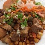 Pork potatoes and salad