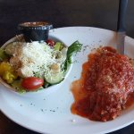 Half lasagna with house salad