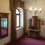2nd floor landing w/one of hotel's antique furniture pieces