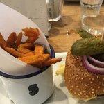Dorset blue burger with sweet potato fries
