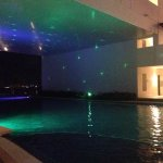 The infinity pool at night.