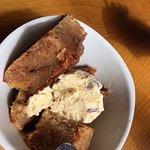 cinnamon bread pudding and cashew ice cream