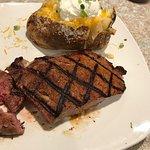 Strip Steak and giant baked potato