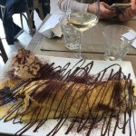 Banana choc crepe and a glass of wine...perfect!