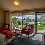 Riverview Rooms are luxuriously appointed and have sweeping views down the Moeraki River rapids