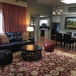 Fireside Loft living room, dining room, and kitchen