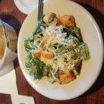 Chicken Parmigiana and half rack of baby back ribs with Caesar salad