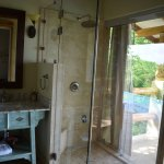 Indoor outdoor shower. Stunning bathroom!