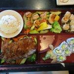 Bento Box D (steak teriyaki, 8 scallop teriyaki, 6 steamed shrimp shumai, 6 small California rol