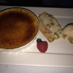 Whte Chocolate Brulee, Vanilla Icecream and Macadamia crisp