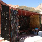 One of the roadside merchants. It's a good place to buy jewelry and carpets