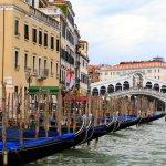Gondolas by Rialto Bridge