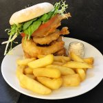 Southern Fried Chicken Fillet Burger with Beer Battered Onion Rings, Chunky Chips & Baconnaise S