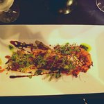 Octopus appetizer - I tried to lighten the image, but it was lovely in person