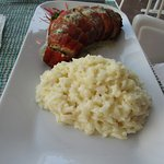 Stuffed chicken breast with a rice dish