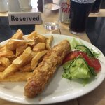 Buttered sausage and chips