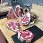 Butchering dry aged meat