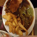 Pie, peas and chips