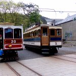 Manx Electric and Snaefell Mountain Railway trams at Laxey