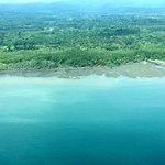 View of Osa Peninsula coastline flying into Puerto Jimenez airport.